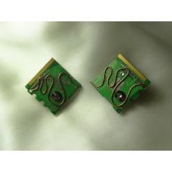 Insolente 14057 - bijou fantaisie boucles d'oreille - circuit imprimé vert