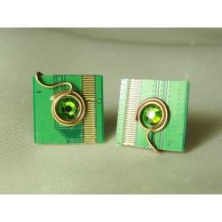 Insolente 14059 - bijou fantaisie boucles d'oreille - circuit imprimé vert
