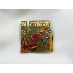 Capricieuse 13052 - bijou fantaisie broche - circuit imprimé doré