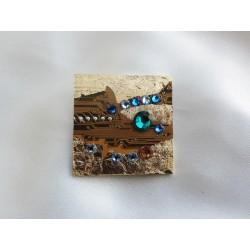 Capricieuse 14054 - bijou fantaisie broche - circuit imprimé doré