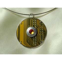 Capricieuse 14059 - bijou fantaisie pendentif - circuit imprimé doré