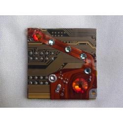 Capricieuse 14062 - bijou fantaisie broche - circuit imprimé doré