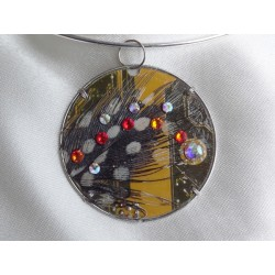 Capricieuse14064 - bijou fantaisie pendentif - circuit imprimé doré