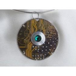 Capricieuse 14065 - bijou fantaisie pendentif - circuit imprimé doré