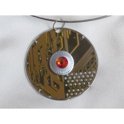 Capricieuse 14066 - bijou fantaisie pendentif - circuit imprimé doré