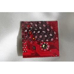 Précieuse 12002 - bijou fantaisie broche - circuit imprimé rouge