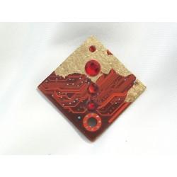 Candide 12033 - bijou fantaisie pendentif - circuit imprimé orange et or