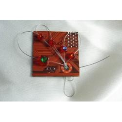 Candide 12014 - bijou fantaisie broche - circuit imprimé orange