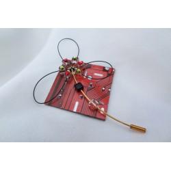 Candide 12015 - bijou fantaisie broche - circuit imprimé orange