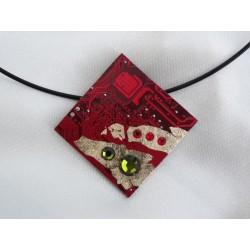 Précieuse 12020 - bijou fantaisie pendentif - circuit imprimé rouge et or