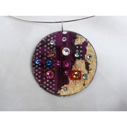 Mystique 14051 - bijou fantaisie pendentif - circuit imprimé violet