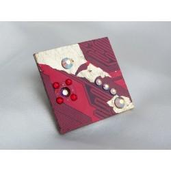 Précieuse 15052 - bijou fantaisie broche - circuit imprimé rouge et or
