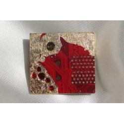 Précieuse 12010 - bijou fantaisie broche - circuit imprimé rouge et or