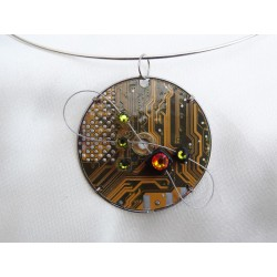 Capricieuse 15067 - bijou fantaisie pendentif - circuit imprimé doré