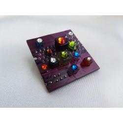 Mystique 13047 - bijou fantaisie broche - circuit imprimé mauve