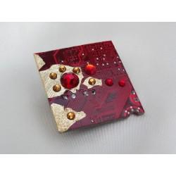 Précieuse 15053 - bijou fantaisie broche - circuit imprimé rouge et or