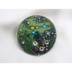 Insolente 13043 - bijou fantaisie broche - circuit imprimé vert