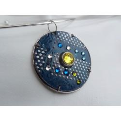 Furtive 15038 - bijou fantaisie pendentif - circuit imprimé bleu