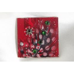 Précieuse 12011 - bijou fantaisie broche - circuit imprimé rouge