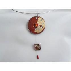 """Candide 14037 """"série cordes guitare"""" - bijou fantaisie pendentif - circuit imprimé orange"""