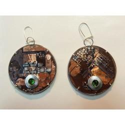 Libertines 15057 - bijou fantaisie boucles d'oreilles - circuit imprimé brun cuivré