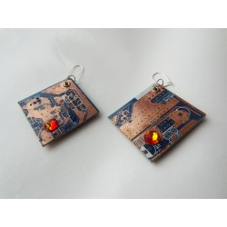 Libertines 15060 - bijou fantaisie boucles d'oreilles - circuit imprimé brun cuivré