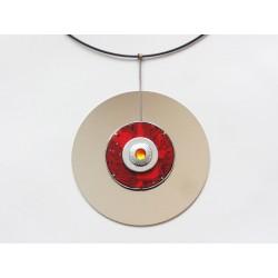 Précieuse 14045 - bijou fantaisie pendentif - circuit imprimé rouge