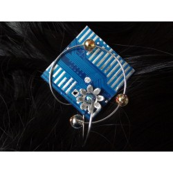 Furtive16043 - bijou fantaisie broche - circuit imprimé bleu