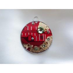 Précieuse 14044 - bijou fantaisie pendentif - circuit imprimé rouge