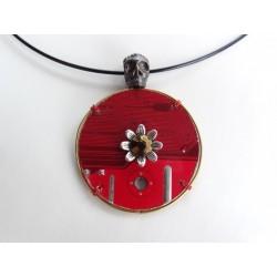 """Capricieuse 17071 """"Tête de mort"""" - bijou fantaisie pendentif - circuit imprimé doré"""