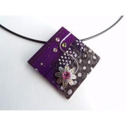 Mystique 17075 - bijou fantaisie pendentif - circuit imprimé violet