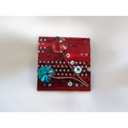 Précieuse 14043 - bijou fantaisie broche - circuit imprimé rouge