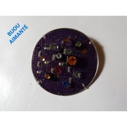 Mystique 17074 - bijou fantaisie broche - circuit imprimé mauve