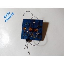 Furtive12012 - bijou fantaisie broche - circuit imprimé bleu