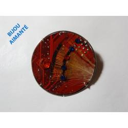 Précieuse 18084- bijou fantaisie broche - circuit imprimé rouge