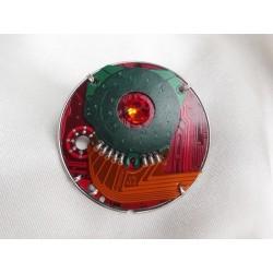 Précieuse 14049a - bijou fantaisie pendentif - circuit imprimé rouge