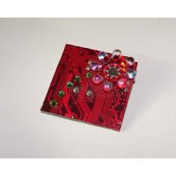 Précieuse 13041 - bijou fantaisie broche - circuit imprimé rouge