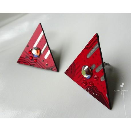 Précieuses18115 - boucles d'oreilles bijou fantaisie - circuit imprimé rouge