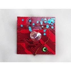 Précieuse 14050 - bijou fantaisie broche - circuit imprimé rouge