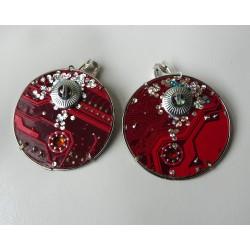 Précieuse 15055 - bijou fantaisie boucles d'oreilles - circuit imprimé rouge