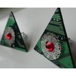Précieuses18117 - boucles d'oreilles bijou fantaisie - circuit imprimé vert