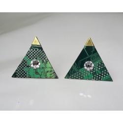 Précieuses18118 - boucles d'oreilles bijou fantaisie - circuit imprimé vert