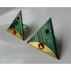 Précieuses18119 - boucles d'oreilles bijou fantaisie - circuit imprimé vert