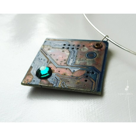 Libertine 13034 - bijou fantaisie pendentif - circuit imprimé brun cuivré