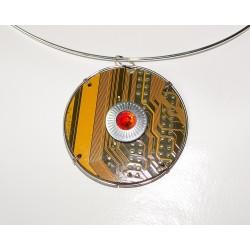 Capricieuse 18124 - bijou fantaisie pendentif - circuit imprimé doré
