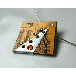 Capricieuse 12037 - bijou fantaisie pendentif - circuit imprimé doré