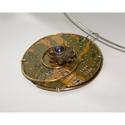 Capricieuse 18127 - bijou fantaisie pendentif - circuit imprimé doré