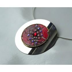 Précieuse 18128 - pendentif bijou fantaisie - circuit imprimé rouge