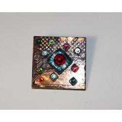 Libertine 13033 - bijou fantaisie broche - circuit imprimé brun cuivré