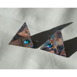 Libertines 18113 - boucles d'oreilles bijou fantaisie - circuit imprimé brun cuivré